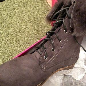 Faux Fur Lace Up Combat Boot